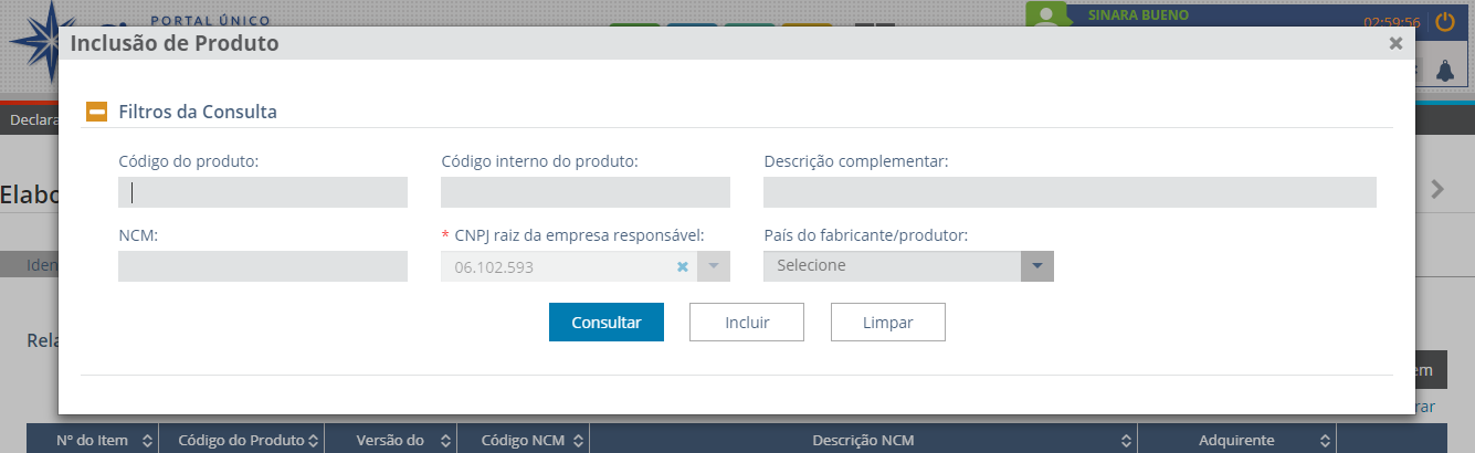 Elaboração da DUIMP - Inclusão de Produto