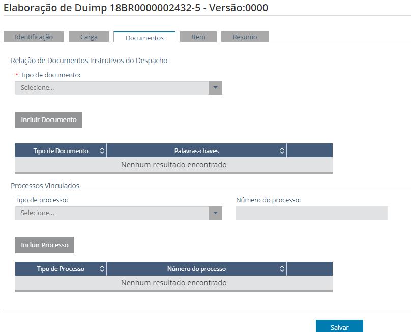 """Elaboração da DUIMP - Tela da Aba """"Documentos"""""""