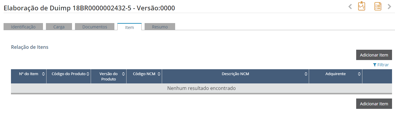 """Elaboração da DUIMP - Tela da Aba """"Itens"""""""